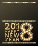 Happy New Year Greeting Card with Bulb Lamps Gold Light. Vector vector illustration
