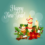 Happy New Year greeting card with candles. Happy New Year greeting card. Vector poster with christmas candles light, holly leaf and pine tree wreath, red ribbons stock illustration