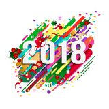 2018 Happy New Year greeting card, card design, poster. Original beautiful combination modern style abstraction with composition made of various rounded shapes stock illustration