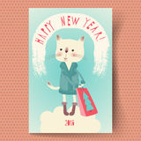 Happy New Year. Greeting Card Happy New Year 2016 with a cartoon cat.  Retro style. Hand lettering. Vector illustration Stock Image