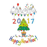 Happy New Year greeting card with cartoon funny birds. Hand draw vector illustration. Bright colors Stock Images