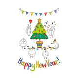 Happy New Year greeting card with cartoon funny birds. Hand draw vector illustration. Bright colors Royalty Free Illustration