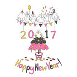 Happy New Year greeting card with cartoon funny birds. Hand draw vector illustration. Trendy colors. Glitter gold, pink gray Royalty Free Illustration