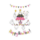 Happy New Year greeting card with cartoon funny birds. Hand draw vector illustration. Trendy colors. Glitter gold, pink gray Stock Illustration