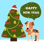 Happy New Year Greeting Card Cartoon Grey Spot Dog. Happy New Year congratulations from cartoon pink spotted dog near decorated Christmas tree topped by Santa Royalty Free Stock Photography
