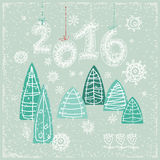 Happy New Year greeting card.  Celebration. 2016 Happy New Year greeting card.  Celebration background with Christmas Landscape,  Vector Illustration. Lace 2016 Stock Image