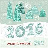 Happy New Year greeting card.  Celebration. 2016 Happy New Year greeting card.  Celebration background with Christmas Landscape,  Vector Illustration. Lace 2016 Royalty Free Stock Photo