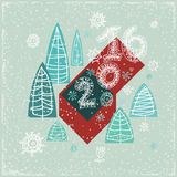 Happy New Year greeting card. Celebration. 2016 Happy New Year greeting card. Celebration background with Christmas Landscape, Vector Illustration. Lace 2016 Stock Illustration