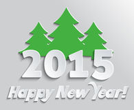 2015 Happy New Year. Greeting card.  Celebration background with Christmas tree Stock Image