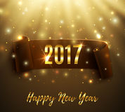 Happy New Year 2017 greeting card. Happy New Year 2017 celebration background with realistic curved ribbon particles an light rays. Vector illustration Royalty Free Stock Image