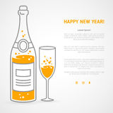 Happy new year greeting card with champagne bottle and glass. Happy new year 2016 greeting card or poster design with minimalistic line flat champagne bottle and vector illustration