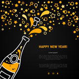 Happy New Year greeting card with champagne explosion bottle. Happy New Year 2016 greeting card or poster design with minimalistic line flat champagne explosion vector illustration