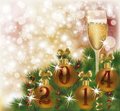 Happy New 2014 Year greeting card with champagne. Vector royalty free illustration