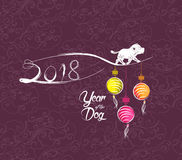 Happy New Year 2018 greeting card. Chinese New Year of the dog Royalty Free Stock Photos