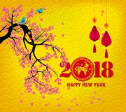 Happy new year 2018 greeting card and chinese new year of the dog Stock Photography