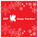 2017 Happy New Year greeting card. Chinese New Year of the red Rooster. Vector Illustration Royalty Free Stock Photos