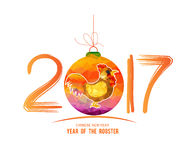 2017 Happy New Year greeting card. Chinese New Year of the Rooster.  Stock Photography