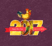 Happy New Year 2017 greeting card. Chinese New Year of the Rooster.  Royalty Free Stock Photos