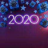 2020 Happy New year greeting card. Christmas background with gifts and silver stars with free space for text. royalty free illustration