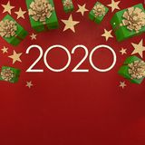 2020 Happy New year greeting card. Christmas background with gifts and silver stars with free space for text. stock illustration