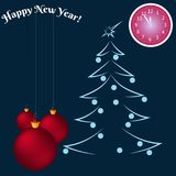 Happy new year greeting card. Christmas balls and a clock shows at five minutes to twelve. Space for your text. Vector. Illustration Royalty Free Stock Image