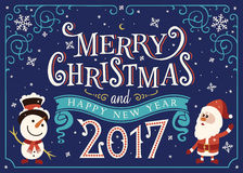 2017 Happy New Year. Greeting card, Christmas card. With Santa Claus and snowman Royalty Free Stock Photography
