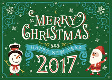 2017 Happy New Year. Greeting card, Christmas card with Santa Claus. And snowman stock illustration