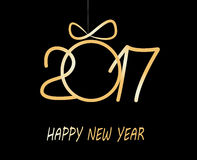 Happy new year greeting  card  2017. Christmas greeting card 2017 with golden balls from snowflakes Royalty Free Stock Photo