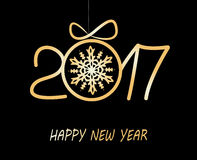 Happy new year greeting  card  2017. Christmas greeting card 2017 with golden balls from snowflakes Royalty Free Stock Images