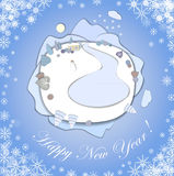 Happy New Year greeting card with Christmas Landscape. Stock Photos