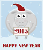 Happy New Year. Greeting card. Christmas sheep with the sign Stock Image