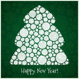 Happy New Year Greeting Card. Christmas tree from balls illustra Stock Images