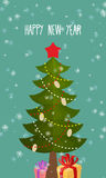 Happy new year greeting card. Christmas tree and gift. Stock Image