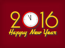 2016 Happy New Year greeting card with clock. Royalty Free Stock Images