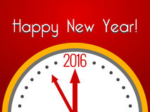 2016 Happy New Year greeting card with clock. Vector Illustration Royalty Free Stock Photo