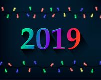 Happy New Year greeting card with colored number 2019 and Christmas lights. Vector illustration on dark background stock illustration