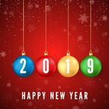 Happy New Year 2019. Greeting card with colorful Christmas balls and white numbers 2019 on them. Snowflakes falling on red stock illustration