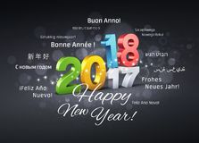 Happy New Year 2018 Greeting Card. Colorful date 2018 above 2017 and Happy New Year greetings in different languages, on a festive black background - 3D Stock Photography