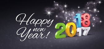 Happy New Year 2018 Greeting Card. Colorful date 2018 above 2017 and Happy New Year greetings, on a festive black background, with glitters and stars - 3D Stock Image