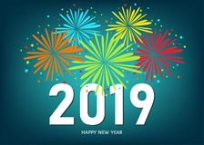 2019 Happy New Year greeting card  with colorful fireworks. 2019 Happy New Year greeting card on blue background with colorful fireworks. Vector design template Royalty Free Stock Image