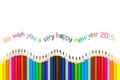 Happy new year 2015 greeting card , colorful pencils. Isolated on white background royalty free stock photo