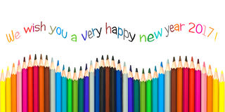Happy new year 2017 greeting card , colorful pencils isolated on white Stock Images