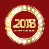 Happy New Year 2018 greeting card concept with golden cuted white numbers. Vector illustration Royalty Free Stock Photography