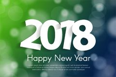 Happy New Year 2018 greeting card concept with paper cuted white numbers. Vector illustration Stock Photo