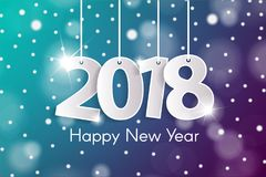 Happy New Year 2018 greeting card concept with paper cuted white numbers on ropes. Vector illustration Royalty Free Stock Photos