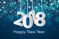Happy New Year 2018 greeting card concept with paper cuted white numbers on ropes. Vector illustration Stock Photo