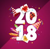 2018 Happy New Year Greeting Card Concept. Vector. 2018 Happy New Year Greeting Card or Flyer Concept Realistic 3d Detailed Symbol Celebrating for Invitation Stock Photography