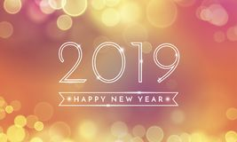 2019 Happy New Year glitter light vector card. Happy New Year greeting card of 2019 confetti text and bokeh light on pink and vector golden background for royalty free illustration