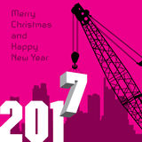 Happy New Year greeting card - crane at work. Vector illustration Royalty Free Stock Photos