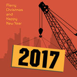 Happy New Year greeting card - crane at work. Vector illustration Royalty Free Stock Photography